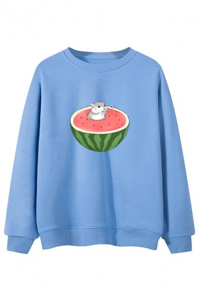 Lovely Cartoon Hamster and Watermelon Pattern Long Sleeve Loose Sweatshirt