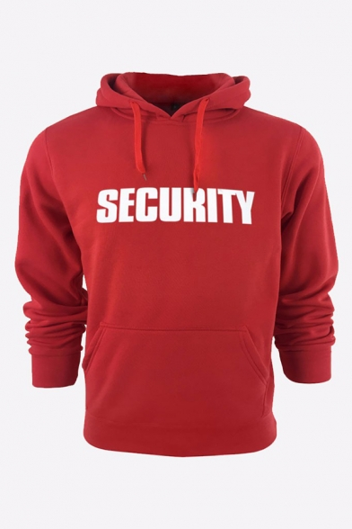Men's Casual Letter SECURITY Printed Long Sleeves Fitted Sport Hoodie