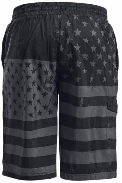 Personality American Flag Printed Loose Fit Gray and Black Beach Shorts