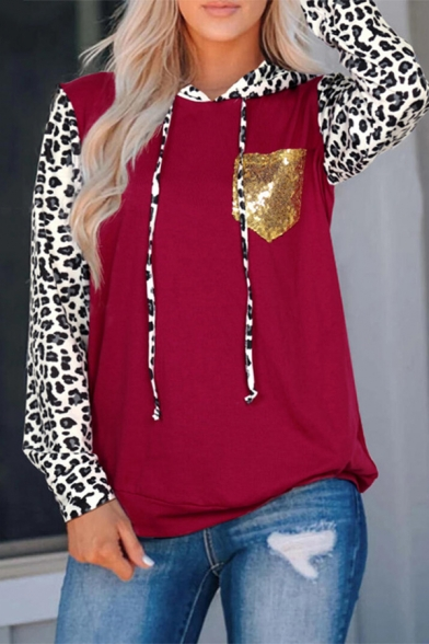 Red Trendy Long Sleeve Drawstring Leopard Print Sequined Pocket Patched Loose Hoodie for Girls, LM582281