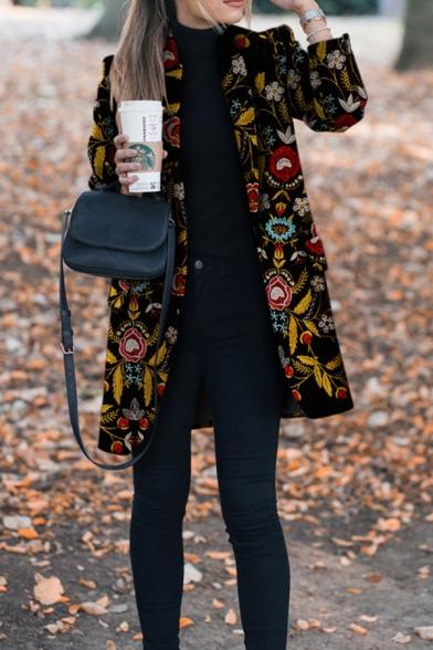 Retro Black Long Sleeve Shawl Collar Floral Printed Slim Fit Midi Wool Coat for Women