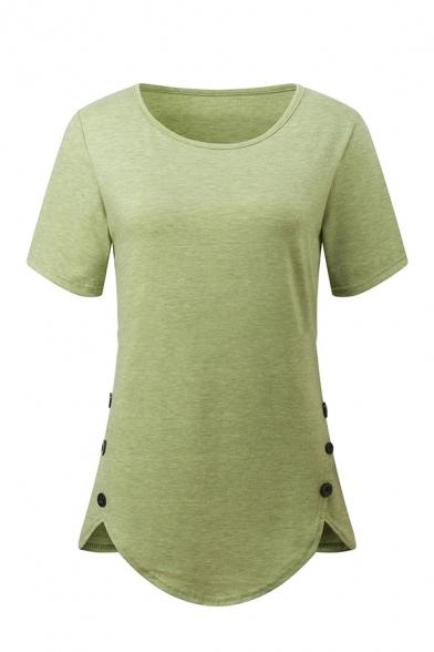 Simple Women' Short Sleeve Crew Neck Button Side Curved Hem Plain Loose Fit Tee, Black;green;red;dark blue;gray;light blue;purple;khaki, LM581545