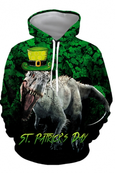 St. Patrick's Day Green Costume Dinosaur Clover 3D Print Long Sleeves Casual Hoodie