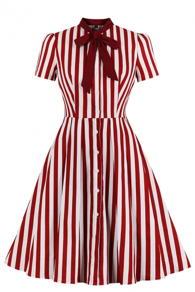 Vintage Ladies' Short Sleeve Bow Tie Collar Stripe Printed Button Down Midi Pleated Flared Party Dress