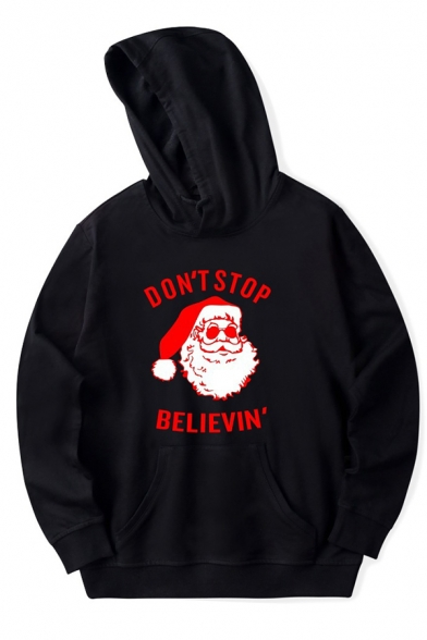 Women' Cool Long Sleeve Hooded DON'T STOP BELIEVIN' Letter Santa Claus Print Kangaroo Pocket Baggy Hoodie, Black;pink;white;dark blue;gray, LM575911