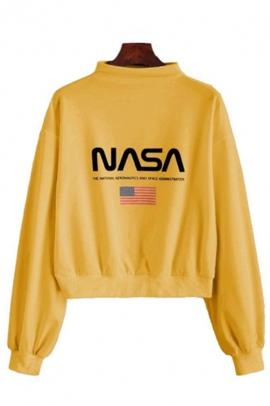 Womens Casual Flag Letter NASA Print Long Sleeve Mock Neck Pullover Sweatshirt, White;gray;yellow, LC582375