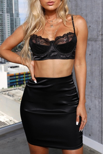 Womens Sexy Lace Panel Cropped Cami Top with Mini Satin Skirt Plain Skinny Co-ords