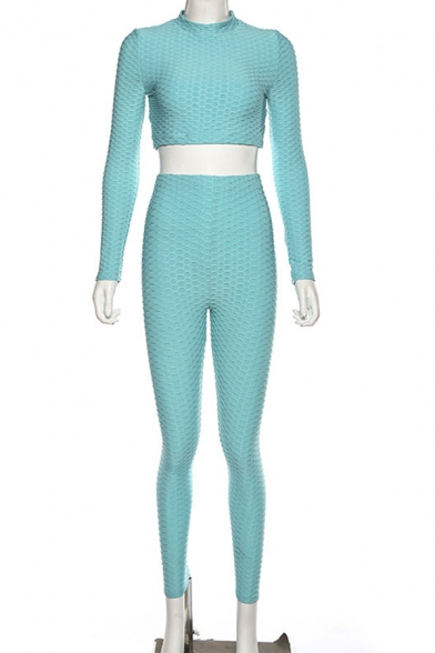 Womens Simple Plain Blue Long Sleeve Cropped Top with Skinny Pants Jacquard Co-ords