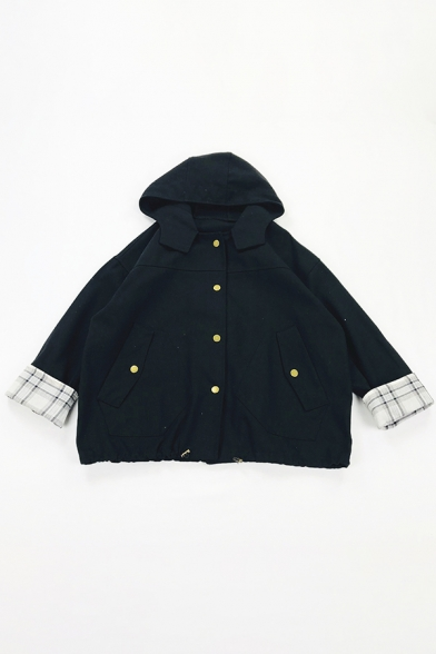 Casual Cool Girls' Long Sleeve Hooded Button Down Pockets Side Plaid Print Patched Baggy Jacket