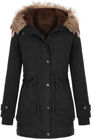 Casual Plain Long Sleeve Hooded Button Zipper Down Drawstring Fluffy Trim Sherpa Liner Loose Parka Coat for Women, Black;army green, LM579151
