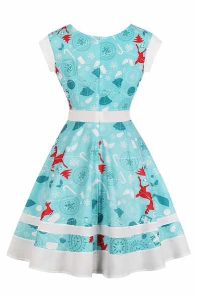 Christmas Pretty Girls' Short Sleeve Round Neck Lace Up Snow Reindeer Printed Midi Pleated Flared Dress in Light Blue