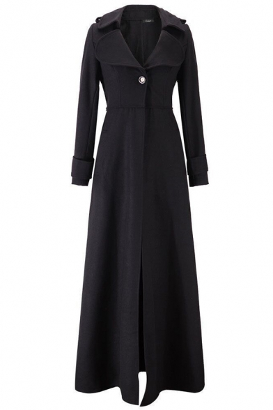 Formal Warm Long Sleeve Notch Collar Button Detail Slim Fit Maxi Wool Coat for Ladies