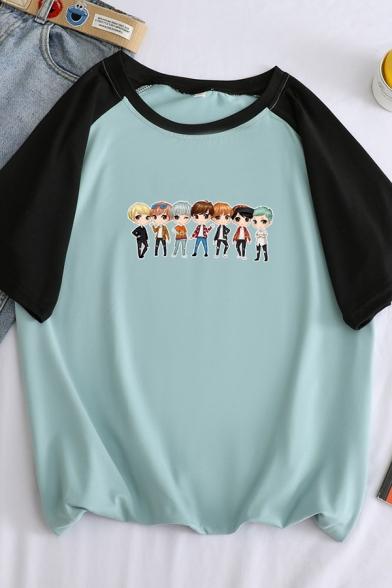 Hot Popular Cartoon Boy Printed Round Neck Raglan Short Sleeve Leisure Relaxed T-Shirt, Blue;green;orange;white;purple, LC583421