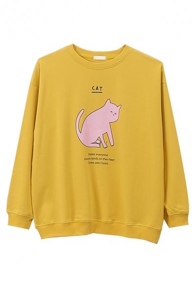 Korean Style Long Sleeve Crew Neck CAT letter Kitty Print Baggy Pullover Sweatshirt for Cute Girls