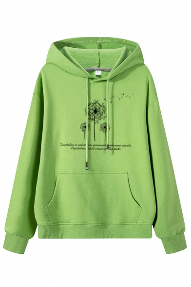 Korean Style Long Sleeve Drawstring Dandelion Pattern Kangaroo Pocket Baggy Pullover Hoodie for Women, Black;blue;green;pink;white;purple;yellow, LM576783