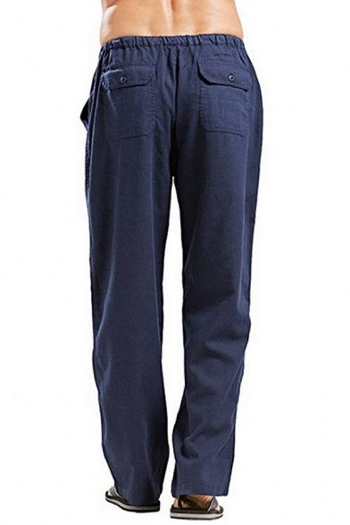 Mens Popular Solid Color Drawstring Waist Loose Wide Leg Trousers Linen Pants