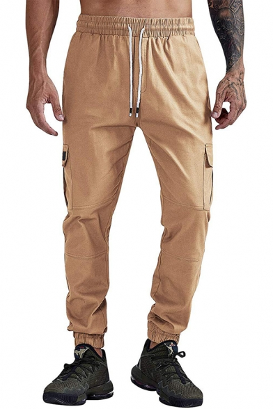 Mens Simple Solid Color Drawstring Waist Loose Fit Woven Cargo Pants