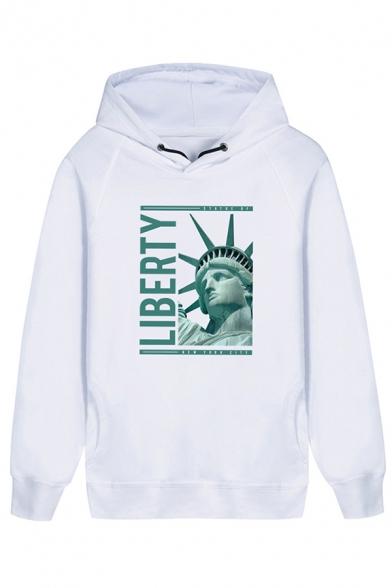 New Arrival Statue of Liberty Sculpture Bubble Gum Letter Printed Long Sleeve Unique Hoodie