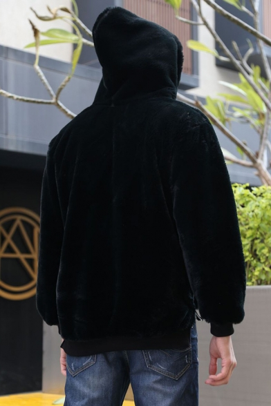 New Stylish Plain Black Faux Mink Long Sleeve Thick Drawstring Hoodie for Men