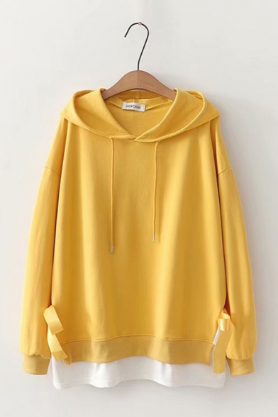 Preppy Chic Long Sleeve Tie Side Fake Two Pieces Patchwork Oversized Hoodie, Pink;red;yellow, LC582967