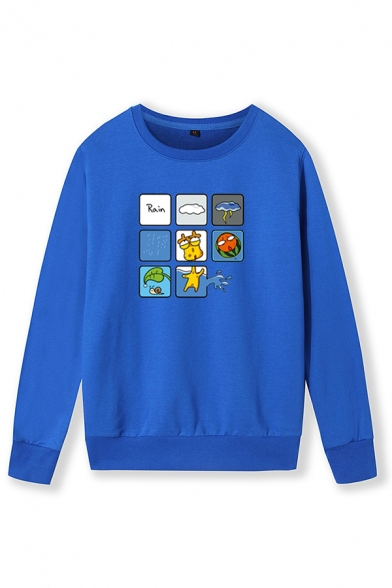Preppy Looks Cool Blue Long Sleeve Crew Neck Comic Patterned Loose Fit Pullover Sweatshirt for Women