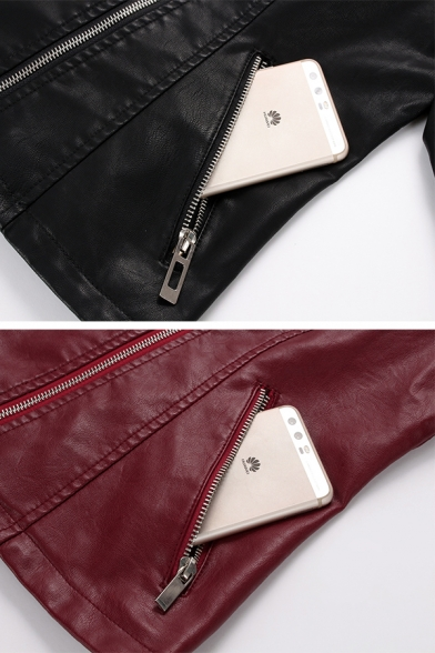 Stylish Cool Girls' Long Sleeve Notch Collar Zipper Front Rivet Button Decoration Pockets Side Fitted Plain Leather Jacket