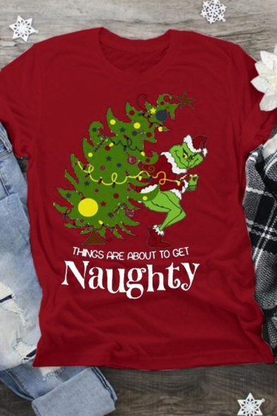 Unique Girls' Rolled Cuff Crew Neck Grinch and Tree Print Letter THINGS ARE ABOUT TO GET NAUGHTY Loose Tee