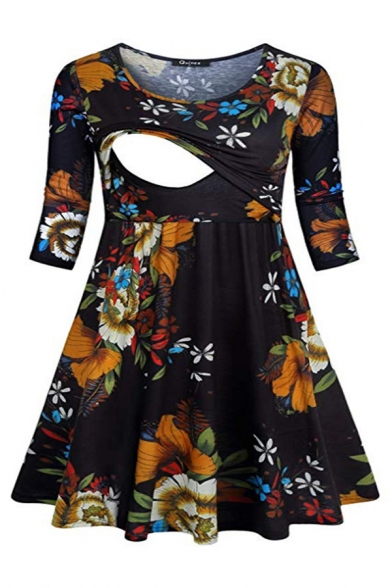 Women Casual Three-Quarter Sleeve Round Neck Floral Patterned Nursing Mid Pleated A-Line Dress