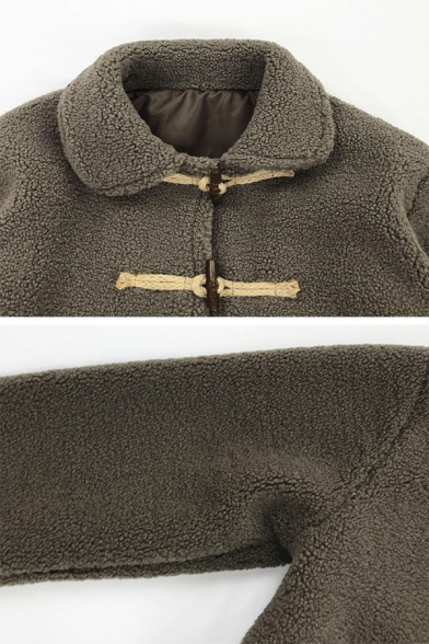 Women's Casual Long Sleeve Stand Collar Frog Button Sherpa Fleece Plain Thick Baggy Jacket