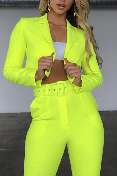 Womens Elegant Plain Notched Lapel Cropped Suit Blazer with Belted Pants Two Piece Set