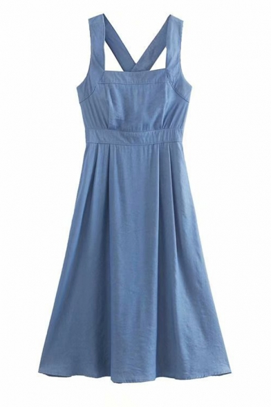 Blue Sweet Sleeveless Hollow Out Button Down Back Pleated Fitted A-Line Cami Dress for Girls