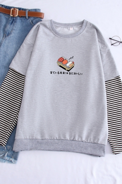 Cartoon Sushi Letter Pattern Striped Long Sleeve Fake Two Pieces Panel Sweatshirt, Black;gray, LC583550