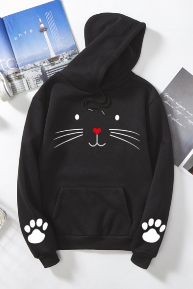 Casual Long Sleeve Drawstring Kitty Pattern Kangaroo Pocket Relaxed Fit Hoodie for Girls, Black;blue;pink;red;white;gray;yellow, LM585634
