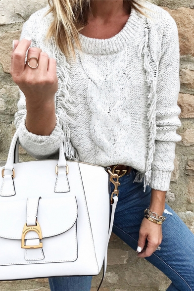 Casual Trendy Girls' Long Sleeve Round Neck Cable Knit Tassel Relaxed Pullover Sweater in Grey, LM578968
