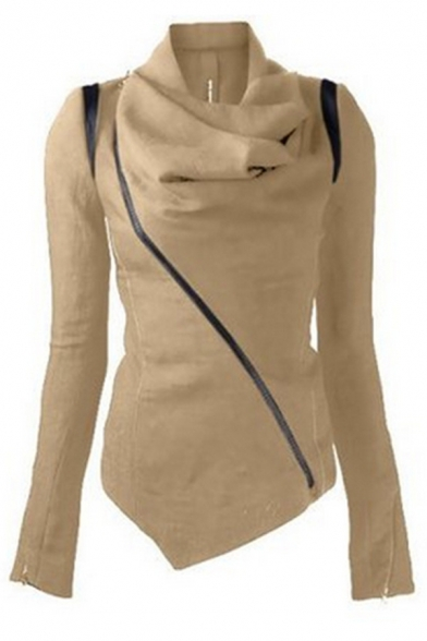 Chic Fashion Long Sleeve Cowl Neck Zipper Front Asymmetric Slim Fit Plain Jacket for Girls