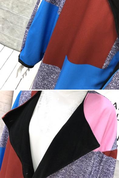 Dressy Designer Female Long Sleeve Turn Down Collar Geo Printed Boxy Maxi Coat in Grey