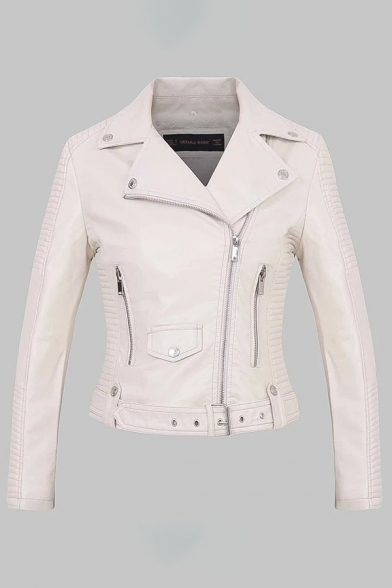 Elegant Fashion Ladies' Long Sleeve Notch Collar Zipper Button Detail Belted Ruched Slim Fit Plain Leather Jacket, Pink;white, LM579598