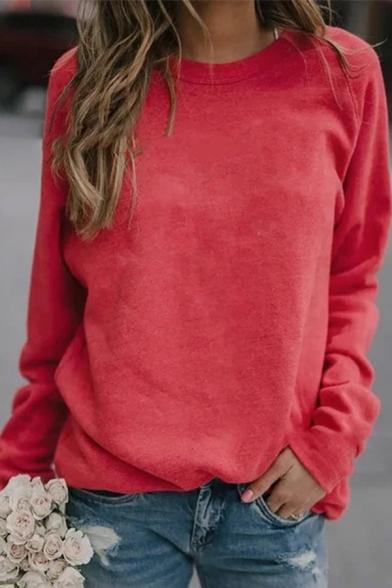 Elegant Women's Long Sleeve Crew Neck Plain Boxy Pullover Sweatshirt