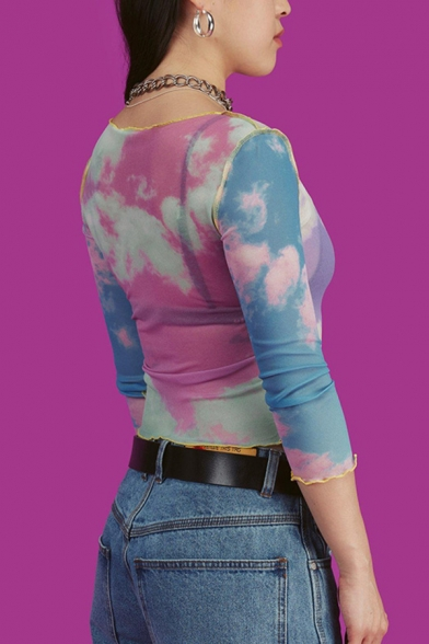 Exclusive Purple Cloud Pattern 3/4 Length Sleeves Contrast Stitching Slim Fit Cropped Tee