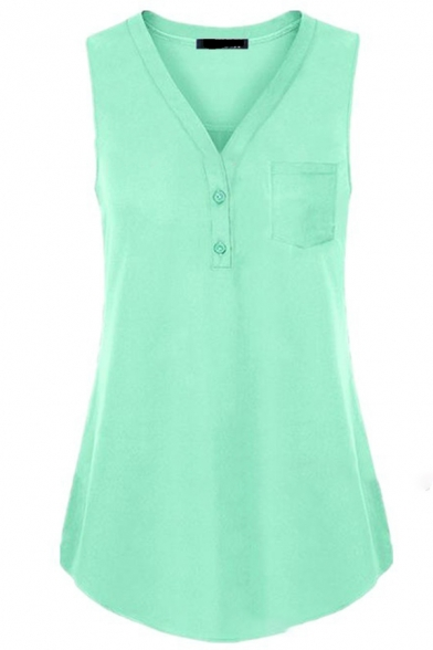 Fashion Casual Women's Sleeveless V-Neck Button Front Relaxed Fit Plain Tank Top