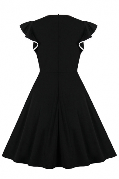 Fashion Women's Short Sleeve Surplice Neck Ruffled Trim Contrast Piped Zipper Back Mid Pleated Wrap Flared Dress in Black