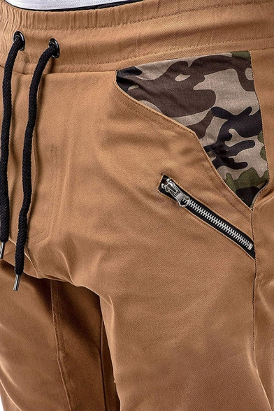 Guys Simple Camouflage Splicing Drawstring Waist Zip Embellished Casual Pants