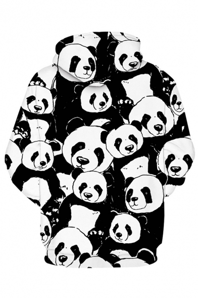 Lovely Allover Panda Pattern Long Sleeve Relaxed Fit Black and White 3D Hoodie