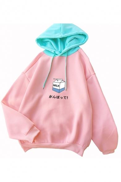 Pink Cute Milk Japanese Letter Print Long Sleeve Loose Fit Pullover Hoodie, LC583556