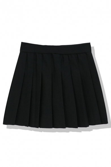 Preppy Girls' High Waist Plaid Printed Mini Pleated A-Line Skirt, Black;white;gray;gray blue;gray-red, LM583960