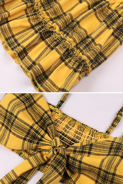 Sexy Womens Yellow Plaid Print Knotted Front Cami Top with A-Line Mini Skirt Co-ords