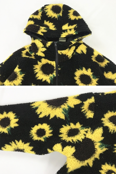 Trendy Women's Balloon Sleeve Hooded Zipper Down Sunflower Printed Drawstring Sherpa Fleece Baggy Jacket in Black