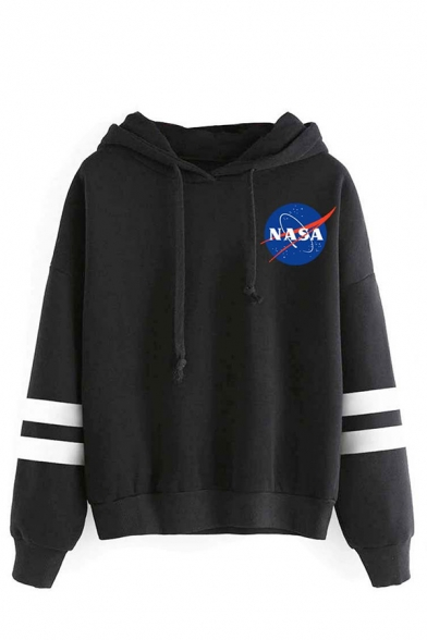 Unisex Fashion NASA Logo Print Long Sleeve Varsity Striped Hoodie in Loose Fit
