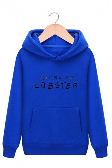 Unisex Letter YOU'RE MY LOBSTER Print Long Sleeve Drawstring Hoodie with Pocket