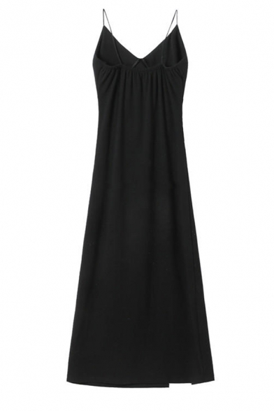 Boutique Ladies' Sleeveless Drawstring Slit Side Ruched Slim Fit Long A-Line Cami Dress in Black